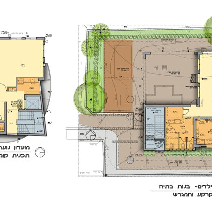 תכנית בית הכנסת- קומה א' וגג