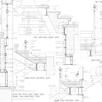 פרטי חדר מדרגות: פרטים ממוזיאון נחום גוטמן- במשרד רוני זייברט אדריכלים